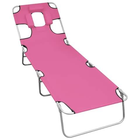 vidaXL Folding Sun Lounger with Head Cushion Steel Magento Pink
