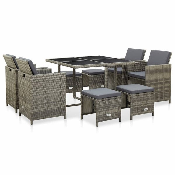 vidaXL 9 Piece Outdoor Dining Set with Cushions Poly Rattan Gray. Opens flyout.