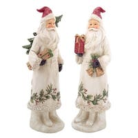 "12.5"" White Botanical Santa Claus with Christmas Tree and Gift Holiday Decoration"