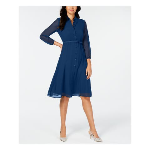 ALFANI Teal 3/4 Sleeve Knee Length Dress 10