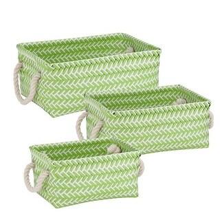 Zig Zag Set of Nesting Baskets with Handles - Set of 3, Green