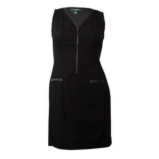 Lauren Ralph Lauren Women's Pleather-Trim Zip V-Neck Dress - Black