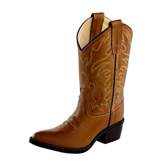 Old West Cowboy Boots Boys Girl Kid Stitching PVC Sole Tan Canyon 8129