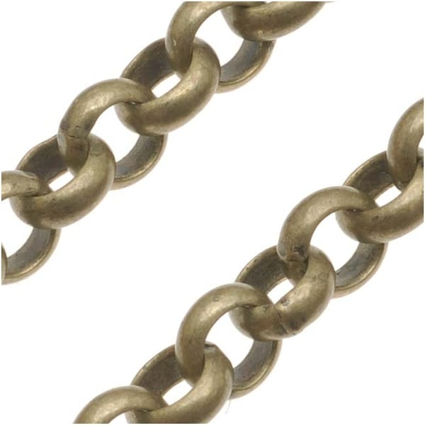 Antiqued brass round rolo chain diameter sold by for Craft chain by the foot