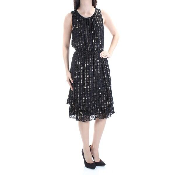 78f6ea5f02122 Womens Black Gold Sleeveless Below The Knee Blouson Cocktail Dress Size: S