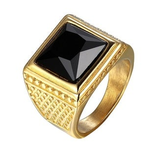 18k Gold Tone Ring Stainless Steel Mens Black Solitaire Stone Square Face
