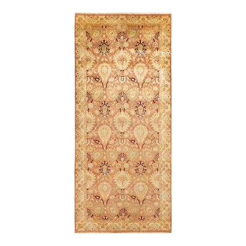 """Eclectic, One-of-a-Kind Hand-Knotted Runner - Brown, 6' 1"""" x 13' 10"""" - 6' 1"""" x 13' 10"""""""