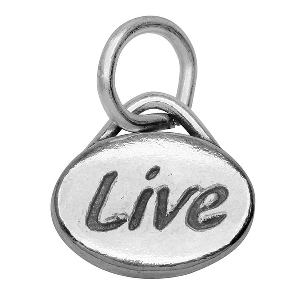 Lead-Free Pewter Message Charm, 'Live' 11x8mm, 1 Piece, Antiqued Silver