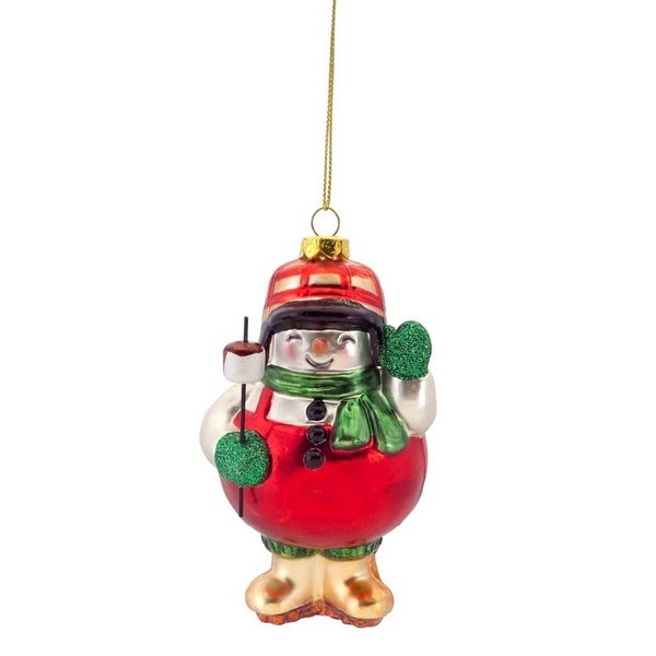 """5"""" Rustic Lodge Camping Snowman Toasting Marshmallows Glass Christmas Ornament - WHITE"""