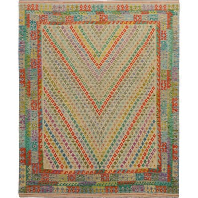 """Hand Knotted Orange Flat Weave with Wool Oriental Rug (8'5"""" x 10'1"""") - 8'5"""" x 10'1"""""""