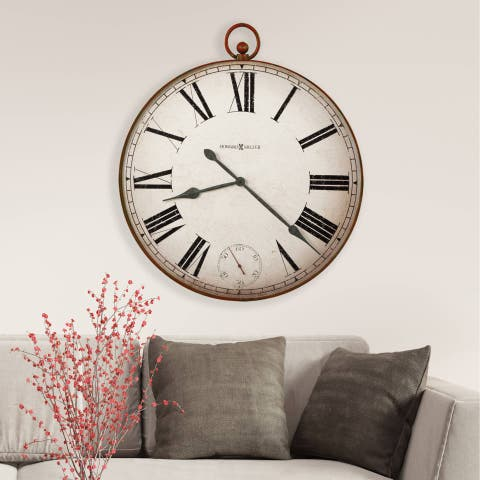 Howard Miller Gallery Pocket Watch II Vintage, Farmhouse Chic, Transitional, and Contemporary Pocket Watch inspired Wall Clock