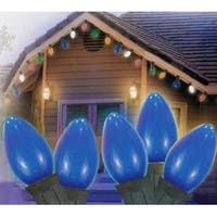 Set of 25 Opaque Blue C9 Christmas Lights - Green Wire