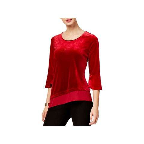 NY Collection Womens Pullover Top Asymmetrical Bell Sleeves