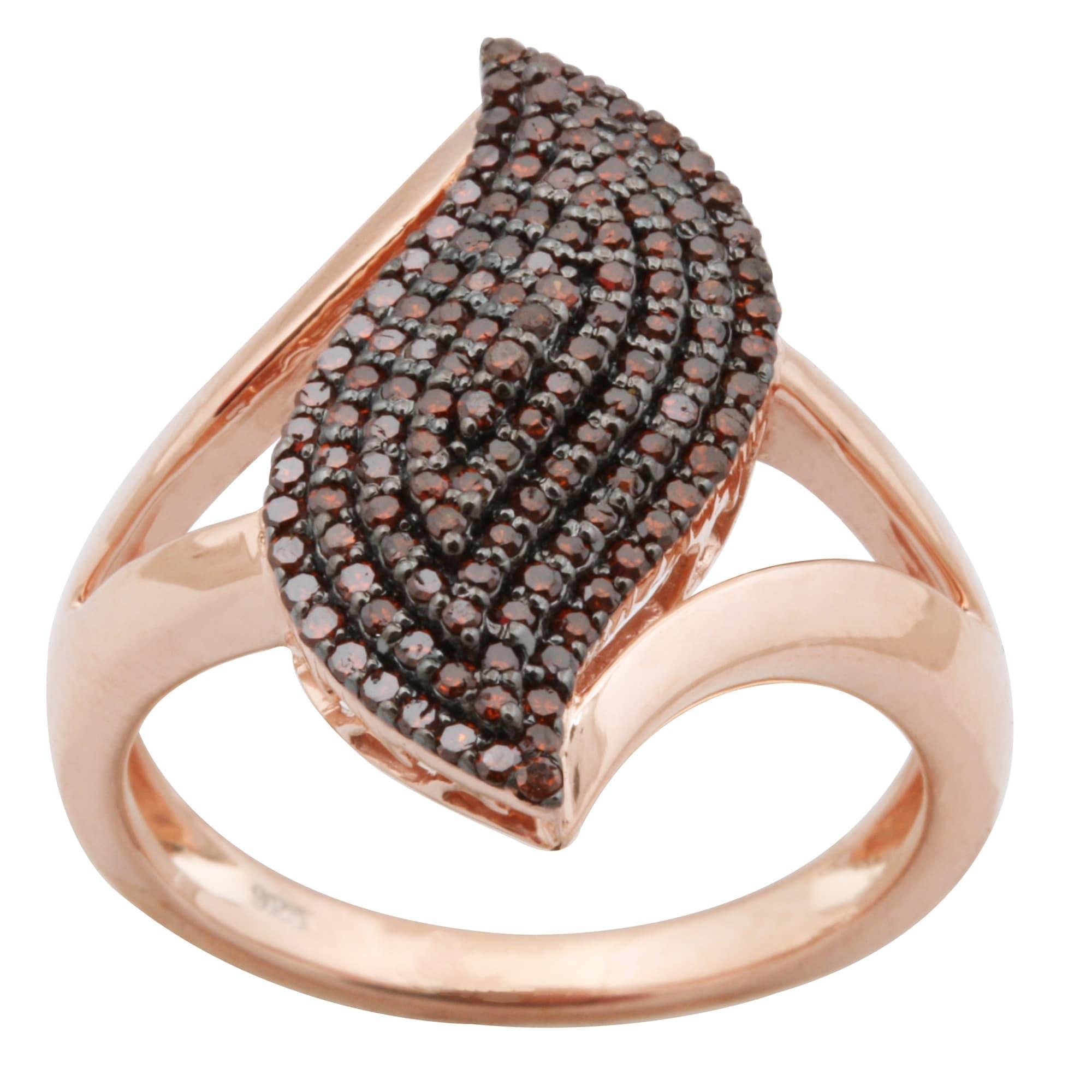 Brand New 0.51 Carat Real Cognac Diamond Designer Cluster Ring - Thumbnail 0