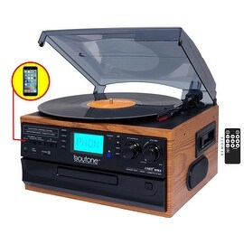 Boytone BT-21DJW-C, 3 Speed Turntable Ability to convert vinyl record, CD, Cassette, AM/FM Radio into MP3 files format without a