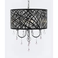 Indoor 4 Light Chrome & Crystal Chandelier Pendant with Crystal Stars