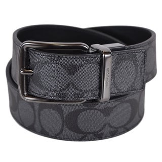 Coach Men's F64839 Black Grey Cut to Fit Reversible Signature Belt