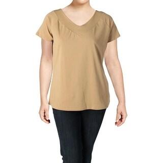 Lauren Ralph Lauren Womens Plus Casual Top V-Neck Short Sleeve