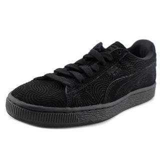 Puma Suede Classic +  Women  Round Toe Leather Black Sneakers