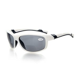 Eyekepper TR90 Unbreakable Sports Bifocal Sunglasses White Frame Grey Lens+1.0