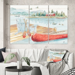 Link to Designart 'Lake House Canoes III' Lake House Canvas Wall Art Similar Items in Matching Sets