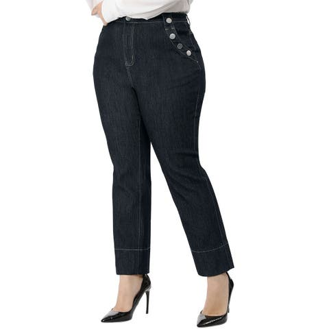 Women's Plus Size Career Straight Leg Bootcut Jeans - Blue