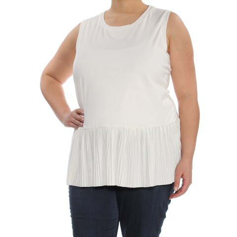TOMMY HILFIGER Womens Ivory Pleated Sleeveless Scoop Neck Peplum Top Plus Size: 1X