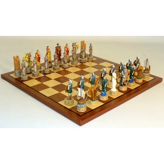 Troy vs Sparta Resin Chess Set with Dark Rosewood / Maple Board - Multicolored