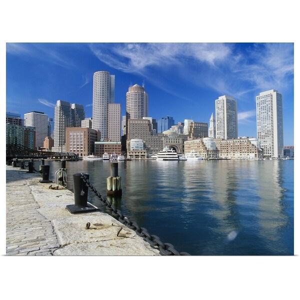 """Waterfront and Cityscape, Boston, Massachusetts"" Poster Print"