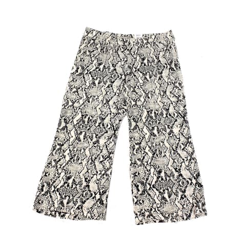 INC Womens Pants Black Size 4X Plus Snake-Print Wide-Leg Pull-On Stretch