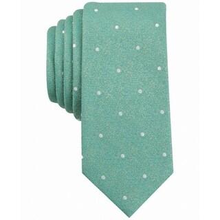 Bar III Green White Polka-Dot Bella Dona Men's Neck Tie Accessory