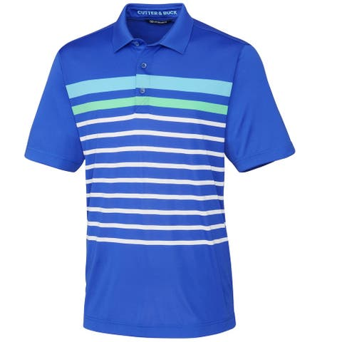 Cutter & Buck Mens Shirt Blue Size Large L Polo Rugby Striped Stretch