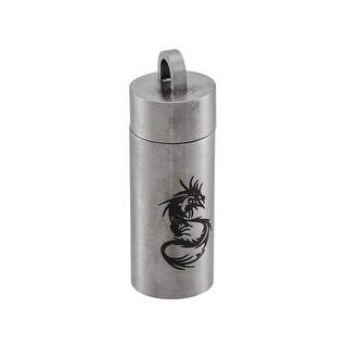 Stainless Steel Black Dragon Cylinder Stash Pendant Pill Case Vial