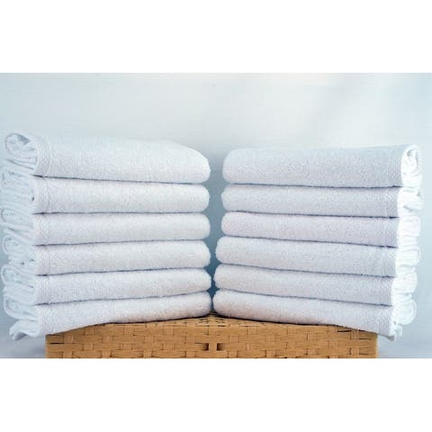 """Lucia Minelli Turkish Cotton Wash Cloths Towel Set- Soft and Quick Dry Towel (Set of 12, 13 x 13"""")"""