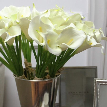 "G Home Collection Luxury Real Touch 9 Calla Lily Bouquet in White 13"" Tall"