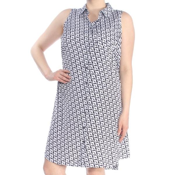 ALFANI Womens White Printed Sleeveless Collared Shift Dress Plus Size: 16W