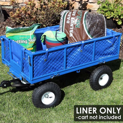 Sunnydaze Heavy-Duty Dumping Utility Cart Liner - Includes Liner Only - Blue