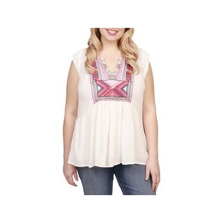 Lucky Brand Womens Plus Pullover Top Knit Embroidered