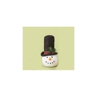 "12.5"" Plush Glitter Embellished Snowman Head Christmas Tree Topper - Unlit"