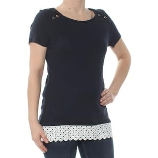 1a296df041fef Quick View. Was  26.39.  5.28 OFF. Sale  21.11. TOMMY HILFIGER Womens Navy  Eyelet Short Sleeve Jewel Neck Peasant Top ...