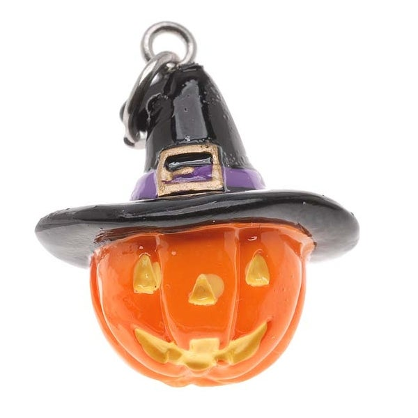Hand Painted 3-D Halloween Jack O Lantern With Witches Hat Lightweight (1)