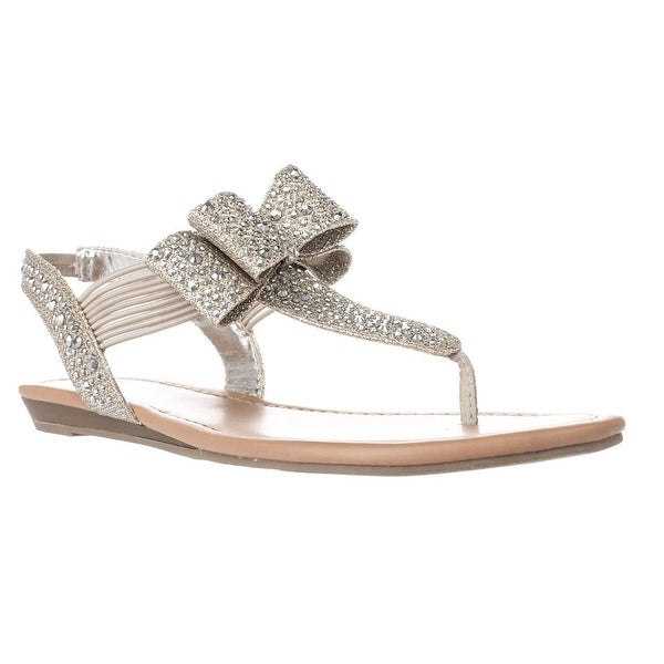 MG35 Shayleen Rhinestone Bow T-Strap Sandals, Silver