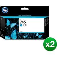 HP 745 130-ml DesignJet Photo Cyan Ink Cartridge (F9J97A)(2-Pack)