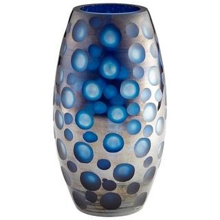 "Cyan Design 09461  Quest 6-3/4"" Diameter Glass Vase - Blue"