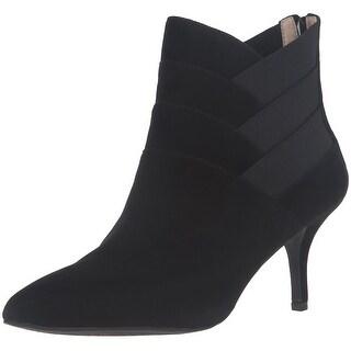 Adrienne Vittadini Womens Sande Leather Pointed Toe Ankle, Black, Size 6.0