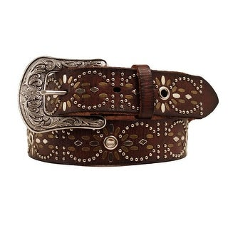 Ariat Western Belt Womens Leather Studded Eyelet Brown A1516202