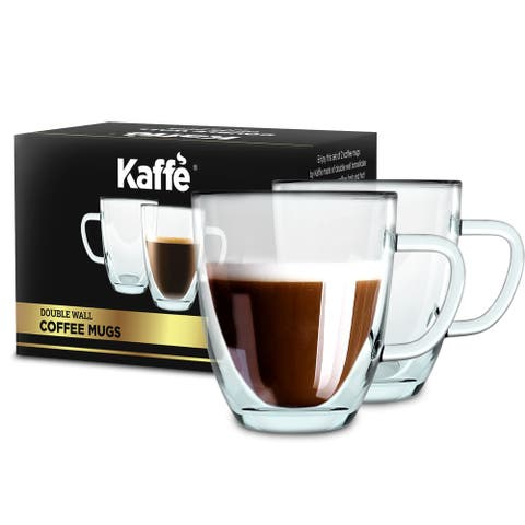 KF4042 Coffee Mugs by Kaffe. 16oz - Set of 2 (Two) Double-Wall Borosilicate Glass Cups