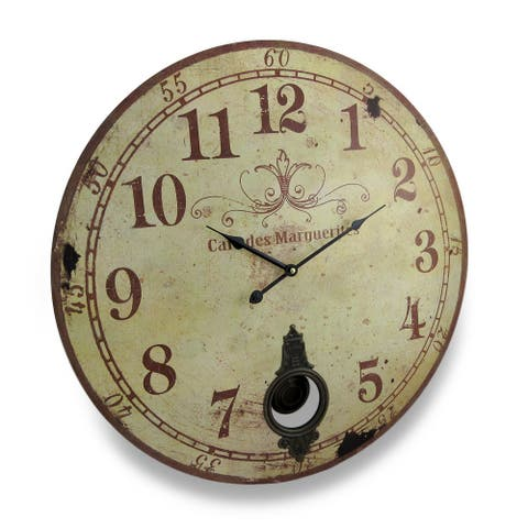 Cafe De Marguerites Vintage Style Pendulum Wall Clock 23 In. - 22.75 X 22.75 X 1.75 inches