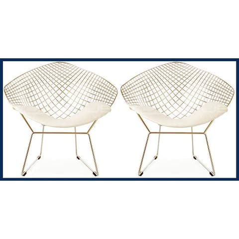 Diamond Metal Accent Chair - Chrome with Cushion (set of Two)