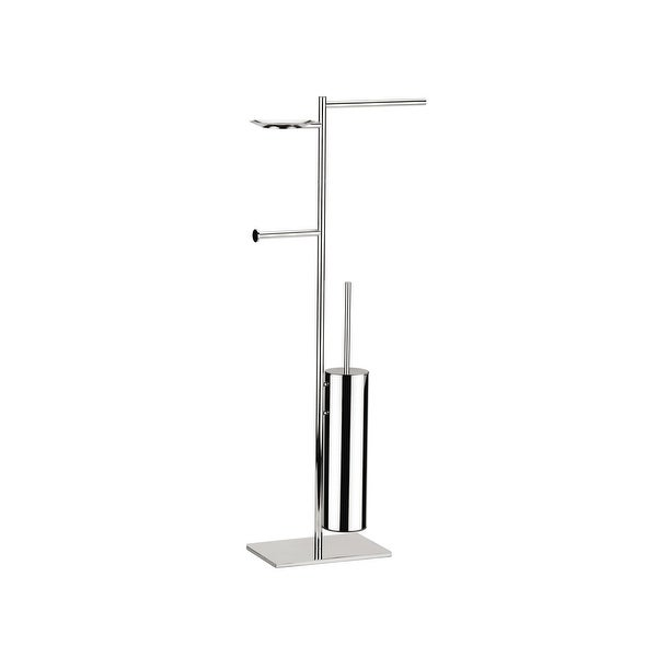 WS Bath Collections Iceberg 4003 Bathroom Accessory Package with Towel Bar, Soap Dish, Tissue Holder, and Toilet Brush Holder
